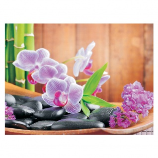 Fototapete Orchideen Tapete Steine Orchidee Bambus Wellness bunt bunt | no. 298