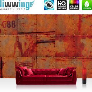 liwwing Vlies Fototapete 350x245 cm PREMIUM PLUS Wand Foto Tapete Wand Bild Vliestapete - 3D Tapete Abstrakt Wand Platten Zahlen Rost Nieten Design 3D rot - no. 826