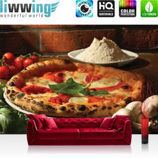 liwwing Vlies Fototapete 312x219cm PREMIUM PLUS Wand Foto Tapete Wand Bild Vliestapete - Speisen Tapete Pizza Gewürze Gemüse Pilze Tomaten Basilikum braun - no. 1392