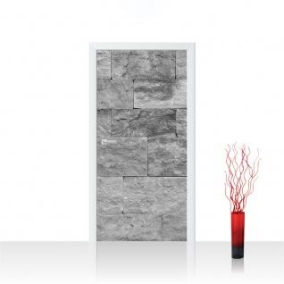 Türtapete - Steinwand Tapete Steinoptik Sandstein Steine Wand 3D Steintapete anthrazit | no. 4303