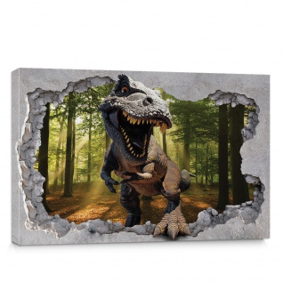Leinwandbild Loch Kunst Mauer Dinosaurier Sonne Blick Ausblick Wald Baum 3D   no. 4332