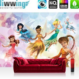 liwwing Vlies Fototapete 350x245 cm PREMIUM PLUS Wand Foto Tapete Wand Bild Vliestapete - Disney Tapete Disney - Fairies Kindertapete Cartoon Feen Glitzer Kleider Blumen lila - no. 1065