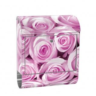 Edelstahl Wandbriefkasten XXL mit Motiv & Zeitungsrolle | Blumen Rose Blüten Natur Liebe Love Blüte Pink | no. 0186