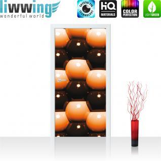 liwwing Vlies Türtapete 91x211 cm PREMIUM PLUS Tür Fototapete Türposter Türpanel Foto Tapete Bild - Abstrakt Kugeln Mauer - no. 1043