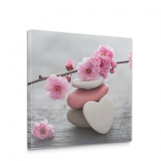 Leinwandbild Herz Blume Bretter Haus Blüten Zweig Ast   no. 4599