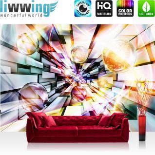 liwwing Vlies Fototapete 208x146cm PREMIUM PLUS Wand Foto Tapete Wand Bild Vliestapete - 3D Tapete Tunnel Platten Rechteck Kacheln Design Kunst 3D Optik bunt - no. 2922