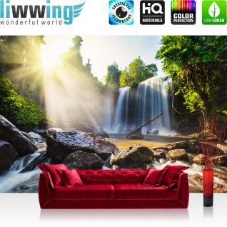 liwwing Vlies Fototapete 350x245 cm PREMIUM PLUS Wand Foto Tapete Wand Bild Vliestapete - Wasserfall Bäume Natur - no. 259