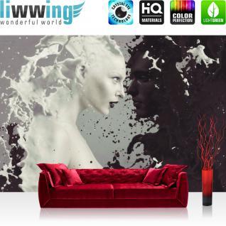liwwing Vlies Fototapete 200x140 cm PREMIUM PLUS Wand Foto Tapete Wand Bild Vliestapete - MILK AND COFFEE IN LOVE - Pärchen Kaffee Milch Akt Erotik Ornament Tribal - no. 016