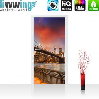 liwwing Vlies Türtapete 100x211 cm PREMIUM PLUS Tür Fototapete Türposter Türpanel Foto Tapete Bild - NEW YORK BRIDGES SKYLINE - New York City USA Amerika Empire State Building Big Apple - no. 021