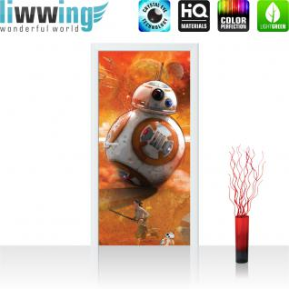liwwing Türtapete selbstklebend 91x211 cm PREMIUM PLUS Tür Fototapete Türposter Türpanel Foto Tapete Bild - STAR WARS Chewbacca Kindertapete Cartoon Monster Fell - no. 845