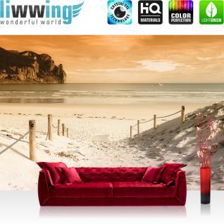 liwwing Vlies Fototapete 416x254cm PREMIUM PLUS Wand Foto Tapete Wand Bild Vliestapete - Strand Tapete Stand Sonnenaufgang Meer beige - no. 1235