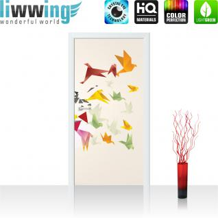 liwwing Türtapete selbstklebend 91x211 cm PREMIUM PLUS Tür Fototapete Türposter Türpanel Foto Tapete Bild - Origami Japan Vögel - no. 609