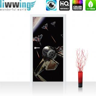 liwwing Türtapete selbstklebend 91x211 cm PREMIUM PLUS Tür Fototapete Türposter Türpanel Foto Tapete Bild - STAR WARS Jedi-Abfangjäger Kindertapete Cartoon Weltall - no. 466