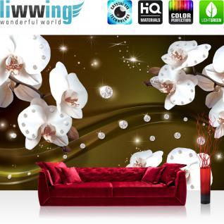 liwwing Vlies Fototapete 350x245 cm PREMIUM PLUS Wand Foto Tapete Wand Bild Vliestapete - Orchideen Tapete Ornament Orchidee Diamanten Blüten Blumen gold - no. 684