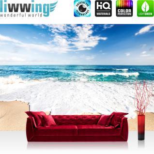 liwwing Fototapete 368x254cm PREMIUM Wand Foto Tapete Wand Bild Papiertapete - Meer Tapete Sandstrand Wellen Gischt Himmel bunt - no. 3263