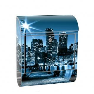 Edelstahl Wandbriefkasten XXL mit Motiv & Zeitungsrolle   Laterne Nacht New York Skyline Lichter Fluss   no. 0856
