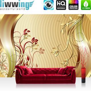 liwwing Fototapete 368x254 cm PREMIUM Wand Foto Tapete Wand Bild Papiertapete - Kunst Tapete Blumen Blüten Schnörkel Punkte Streifen gold - no. 2119