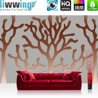 liwwing Vlies Fototapete 312x219cm PREMIUM PLUS Wand Foto Tapete Wand Bild Vliestapete - Kunst Tapete Abstrakt Bäume Linien grau - no. 2589