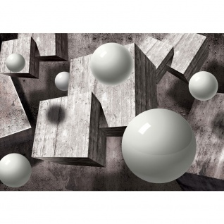 Fototapete 3D Tapete Kugeln Holz Formen grau   no. 2667