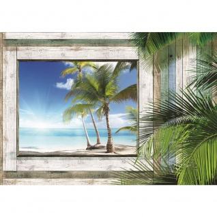 Fototapete Meer Tapete Holzwand Holz Fenster Palme Strand Meer blau | no. 1321