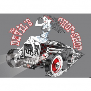Fototapete Illustrationen Tapete Auto Oldtimer Frau Chop Shop RT Totenkopf grau | no. 2848