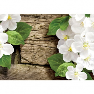 Fototapete Blumen Tapete Blüte Blätter Holz Natur weiß   no. 2857