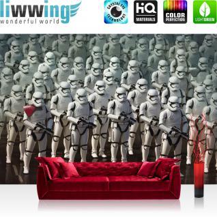 liwwing Vlies Fototapete 208x146cm PREMIUM PLUS Wand Foto Tapete Wand Bild Vliestapete - Disney Tapete STAR WARS Rebels Kindertapete Action Stormtrooper Roboter weiß - no. 2384