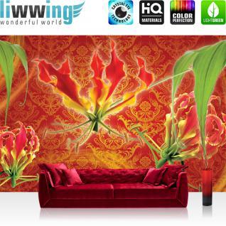 liwwing Vlies Fototapete 104x50.5cm PREMIUM PLUS Wand Foto Tapete Wand Bild Vliestapete - Orchideen Tapete Orchidee Blume Blüte Pflanze Ornamente rosa - no. 2845