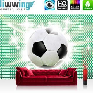 liwwing Vlies Fototapete 300x210 cm PREMIUM PLUS Wand Foto Tapete Wand Bild Vliestapete - Fußball Tapete Fussball Ball Sterne Grün Weiss grün - no. 1038