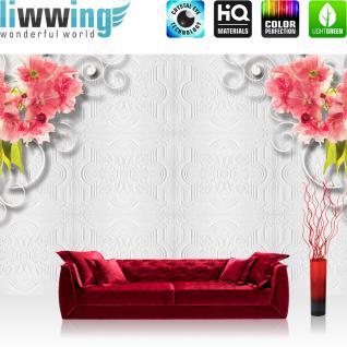 liwwing Vlies Fototapete 416x254cm PREMIUM PLUS Wand Foto Tapete Wand Bild Vliestapete - Blumen Tapete Blüten Blätter Schnörkel Ornamente weiß - no. 2292