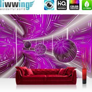 liwwing Vlies Fototapete 312x219cm PREMIUM PLUS Wand Foto Tapete Wand Bild Vliestapete - 3D Tapete Space Raumstation Micro Kugeln lila - no. 3216
