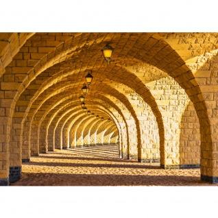 Fototapete Arched Stone Architektur Tapete Arkaden 3D Gewölbe Säulen Sandstein Steinwand beige | no. 66