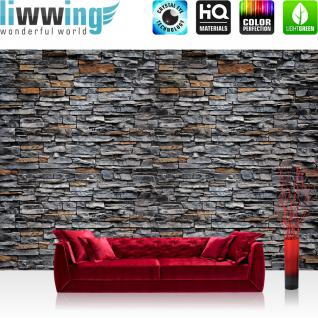 liwwing Vlies Fototapete 350x245 cm PREMIUM PLUS Wand Foto Tapete Wand Bild Vliestapete - Steinwand Tapete Steinwand Steine Steinoptik anthrazit - no. 622