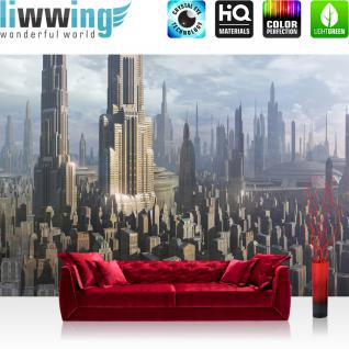 liwwing Vlies Fototapete 350x245 cm PREMIUM PLUS Wand Foto Tapete Wand Bild Vliestapete - Kindertapete Tapete Star Wars - Stadt von Coruscant Cartoon Stadt Towers Panorama grau - no. 450