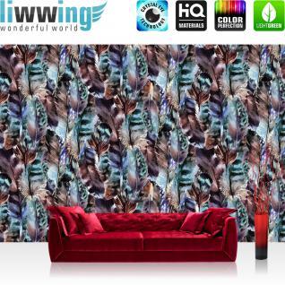 liwwing Vlies Fototapete 416x254cm PREMIUM PLUS Wand Foto Tapete Wand Bild Vliestapete - Natur Tapete Federn Muster Indianer grün - no. 3545