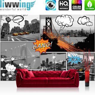 liwwing Fototapete 254x184cm PREMIUM Wand Foto Tapete Wand Bild Papiertapete - New York Tapete Manhattan Hudson River Cabs Nacht Comic Art bunt - no. 3448
