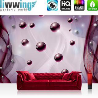 liwwing Fototapete 368x254 cm PREMIUM Wand Foto Tapete Wand Bild Papiertapete - 3D Tapete Abstrakt Netz Perle Murmel Diamant 3D lila - no. 800