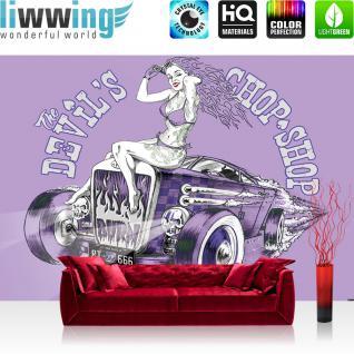 liwwing Vlies Fototapete 208x146cm PREMIUM PLUS Wand Foto Tapete Wand Bild Vliestapete - Illustrationen Tapete Auto Oldtimer Frau Chop Shop RT 666 Totenkopf lila - no. 1954
