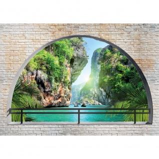 Fototapete Meer Tapete Felsen Paradies Steinwand Wasser Natur Pflanzen Palmen blau   no. 2487