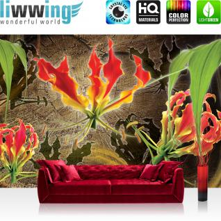 liwwing Vlies Fototapete 208x146cm PREMIUM PLUS Wand Foto Tapete Wand Bild Vliestapete - Blumen Tapete Bläüten Blätter Orchideen Kunst Schatten braun - no. 3082