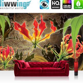 liwwing Vlies Fototapete 312x219cm PREMIUM PLUS Wand Foto Tapete Wand Bild Vliestapete - Blumen Tapete Bläüten Blätter Orchideen Kunst Schatten braun - no. 3082