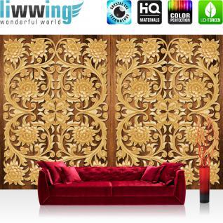 liwwing Vlies Fototapete 312x219cm PREMIUM PLUS Wand Foto Tapete Wand Bild Vliestapete - Ornamente Tapete Blüten Blätter symmetrisch gold - no. 3209