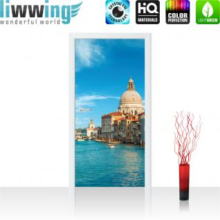 liwwing Türtapete selbstklebend 91x211 cm PREMIUM PLUS Tür Fototapete Türposter Türpanel Foto Tapete Bild - Venedig Wasser Dom Himmel Häuser - no. 444
