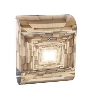 Edelstahl Wandbriefkasten XXL mit Motiv & Zeitungsrolle | Abstrakt Holz Kasten Kisten Rechteck Tunnel 3D | no. 0944