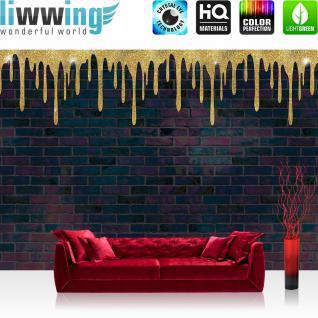 liwwing Vlies Fototapete 416x254cm PREMIUM PLUS Wand Foto Tapete Wand Bild Vliestapete - Steinwand Tapete Steine Steinoptik Steinwand Farbe braun - no. 2543