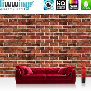 liwwing Fototapete 368x254 cm PREMIUM Wand Foto Tapete Wand Bild Papiertapete - Steinwand Tapete Steinmauer Ziegelwand Ziegel Steine Stein Steinoptik rot - no. 1055