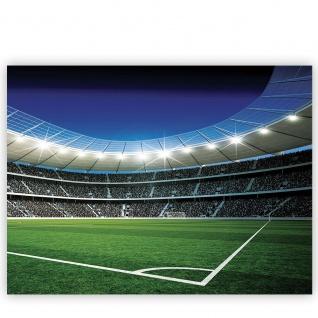 Leinwandbild Fußballstadion Eckpunkt Flutlicht Rasen Tor Tribüne Fans Lichter Sterne Nacht | no. 945 - Vorschau 2