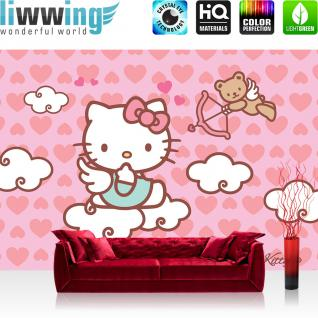 liwwing Vlies Fototapete 350x245 cm PREMIUM PLUS Wand Foto Tapete Wand Bild Vliestapete - Mädchen Tapete Hello Kitty - Kindertapete Cartoon Katze Regenbogen Einhorn rosa - no. 515