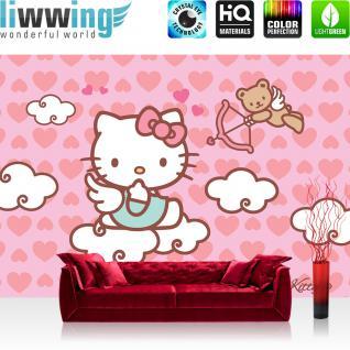 liwwing Vlies Fototapete 350x245 cm PREMIUM PLUS Wand Foto Tapete Wand Bild Vliestapete - Mädchen Tapete Hello Kitty - Kindertapete Cartoon Katze Wolke Flügel Herzen Liebe rosa - no. 515