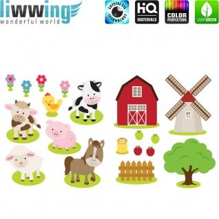 Wandsticker - No. 4835 Wandtattoo Sticker Windmühle bunt Illustration Bauernhof Tierem Kuh Schaf - Vorschau 1